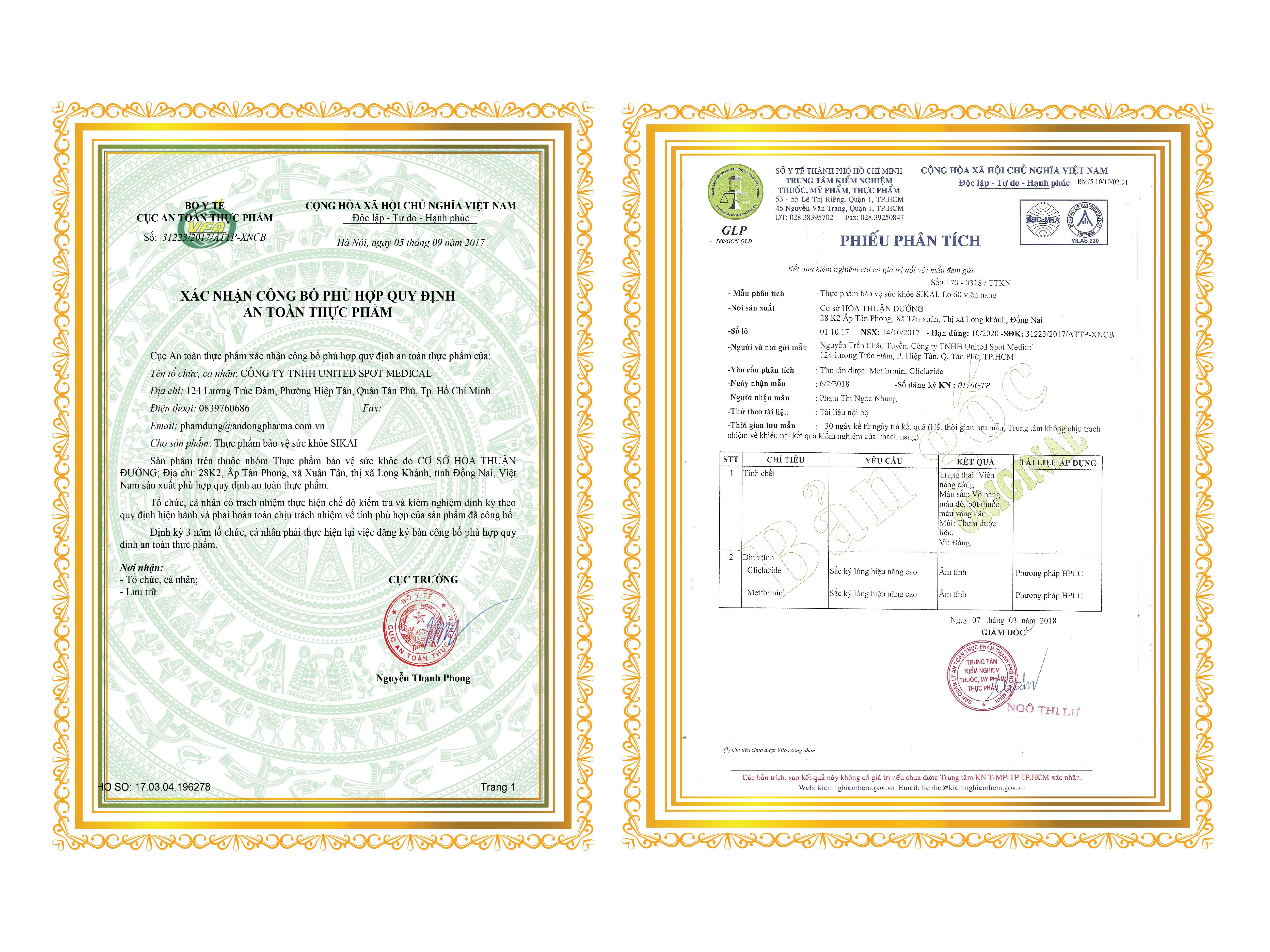 giấy chứng nhận hạ đường sikai